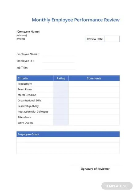 Monthly Employee Review Template in Microsoft Word Templatenet - monthly appraisal form
