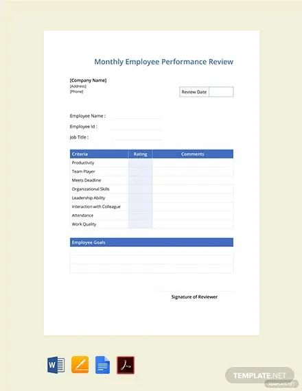 employee review sheets