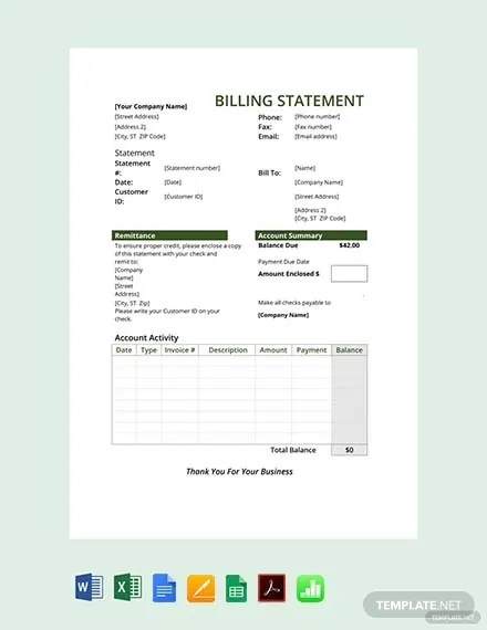 FREE Billing Statement Template Download 530+ Sheets in Word, PDF