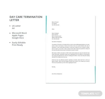 Day Care Termination Letter Template in Microsoft Word, Apple Pages