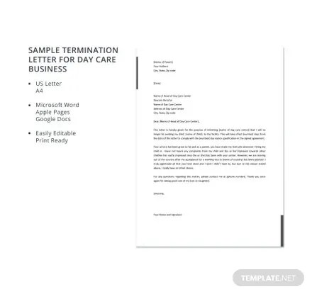 Sample Termination Letter for Day Care Business Template in