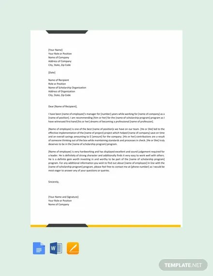 FREE Recommendation Letter for Scholarship from Employer Template