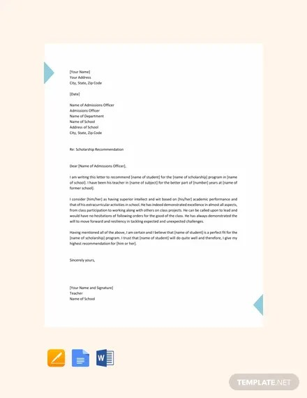 FREE Scholarship Request Letter Template Download 700+ Letters in