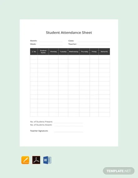 FREE Student Attendance Sheet Template Download 530+ Sheets in Word