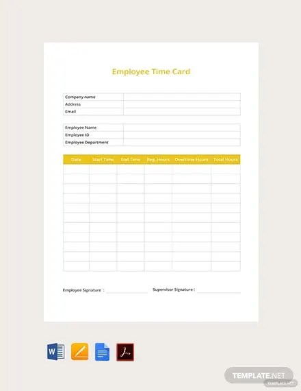 FREE Employee Time Card Template Download 495+ Sheets in Word, PDF
