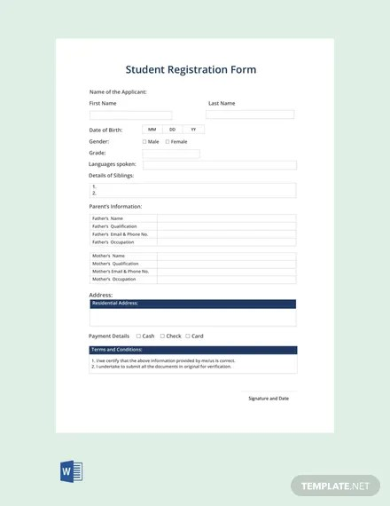 FREE Student Registration Form Template Download 131+ Forms in Word
