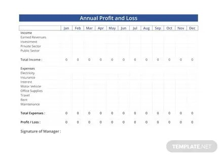 Annual Profit and Loss Template in Microsoft Word, Excel Templatenet - Profit And Loss Template Word