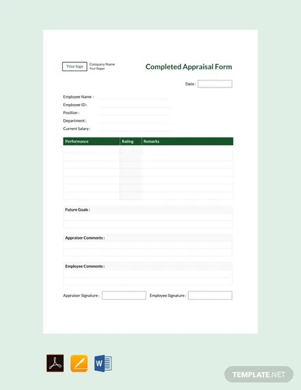 FREE Completed Appraisal Form Template Download 131+ Forms in Word
