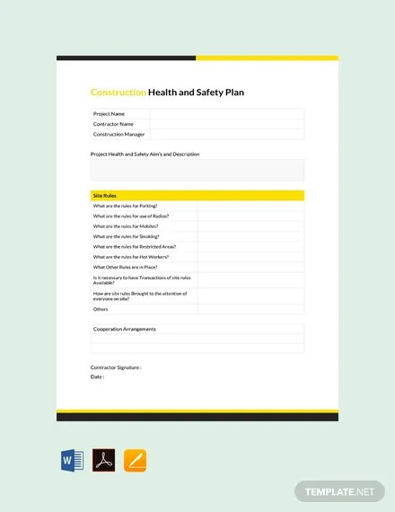 FREE Construction Health and Safety Plan Template Download 341+