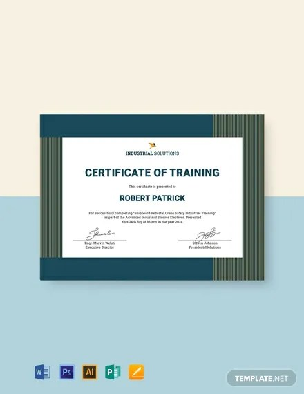 FREE Industrial Training Certificate Template Download 435+