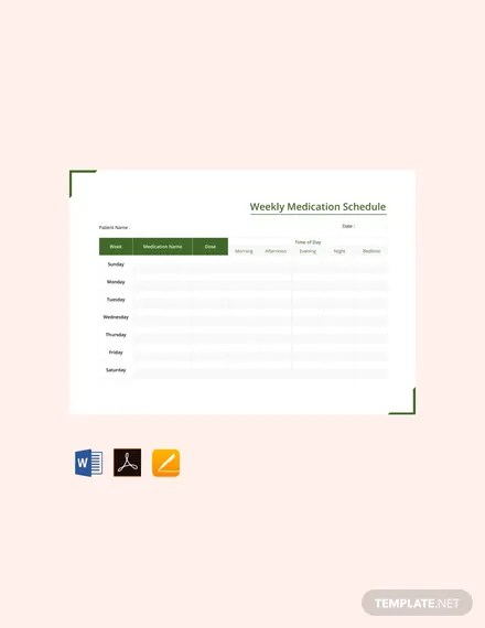 FREE Weekly Medication Schedule Template Download 363+ Schedules in