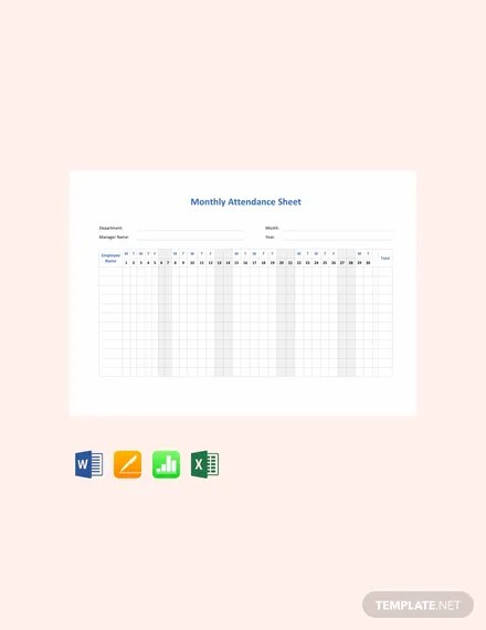 FREE Monthly Attendance Sheet Template Download 536+ Sheets in Word