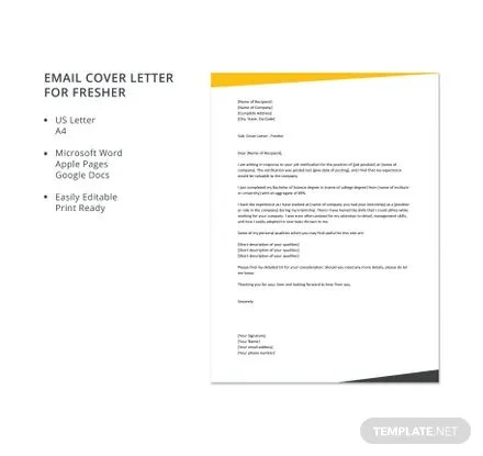 Free Email Cover Letter for Fresher Template Download 700+ Letters