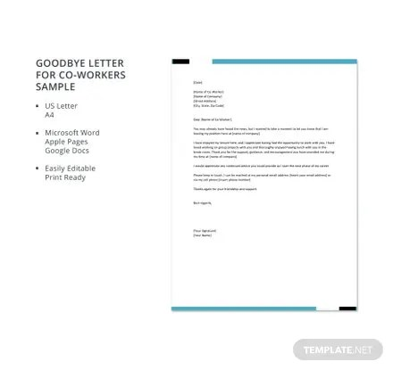 Goodbye Letter for Co-Workers Sample Template Download 700+ Letters