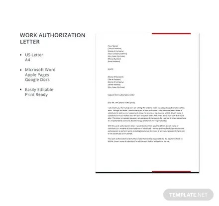 Work Authorization Letter Template Free Templates - work authorization letter