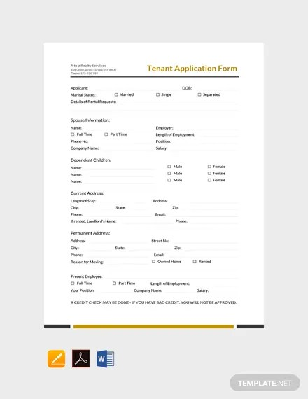 FREE Tenant Application Form Template Download 131+ Forms in Word