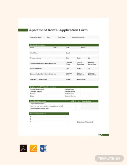 FREE Apartment Rental Application Form Template Download 129+ Forms