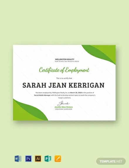 FREE Sample Certificate of Employment Template Download 435+