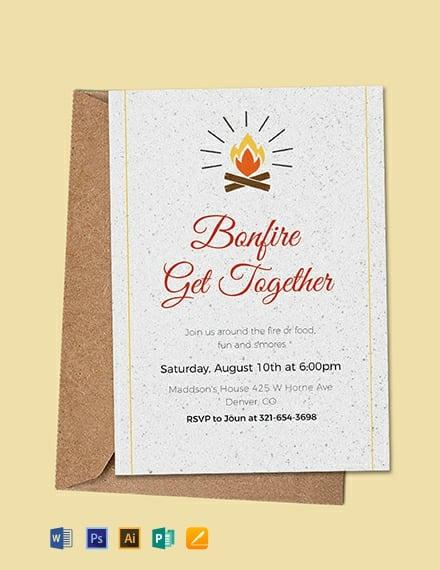 FREE Bonfire Get Together Invitation Template Download 636+