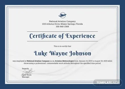 Free Company Experience Certificate Template in Adobe Photoshop - experience certificate templates