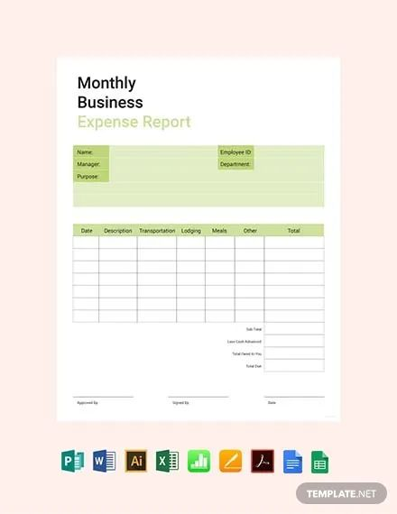 monthly expense report template excel