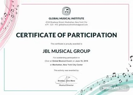 Free Program Participation Certificate Template Free Templates