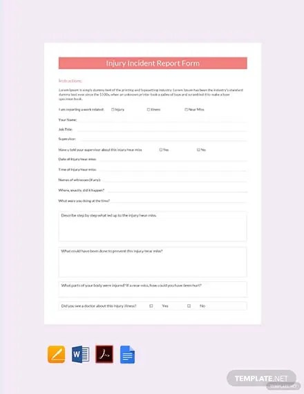 FREE Injury Incident Report Form Template Download 458+ Reports in
