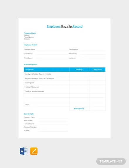 FREE Employee Pay Slip Record Template Download 530+ Sheets in Word