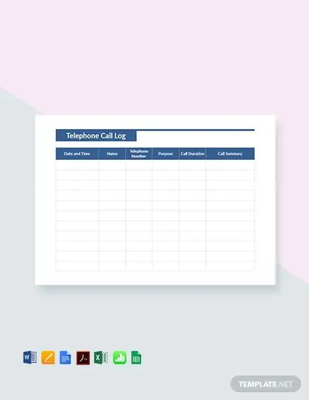 FREE Telephone Call Log Template Download 530+ Sheets in Word, PDF