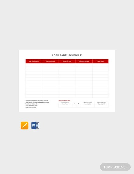 FREE Load Panel Schedule Template Download 264+ Schedules in Word