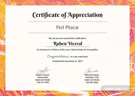 Free Appreciation Certificate Template in Adobe Photoshop - free appreciation certificate templates