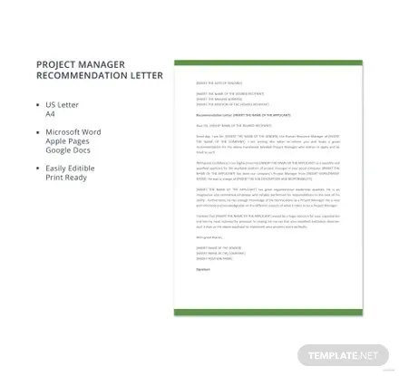 Free Project Manager Recommendation Letter Template Download 700+