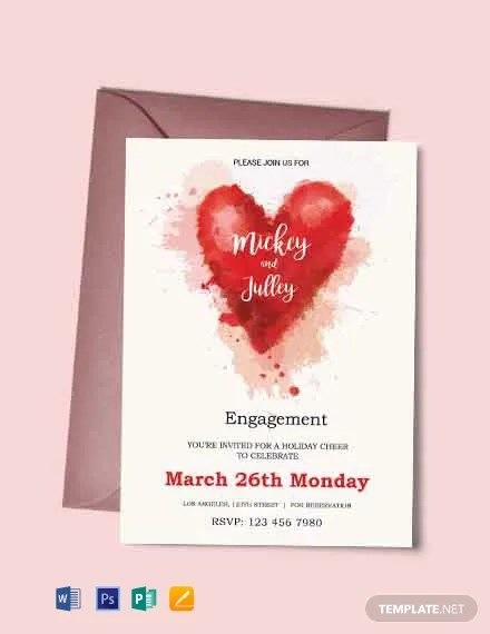 Free Colorful Engagement Invitation Card Template Download 300+