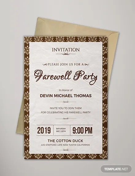 Invitation Card For Farewell Party In School