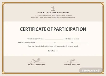 Free Blank Participation Certificate Template Download 200+