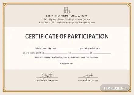 Free Blank Participation Certificate Template in PSD, MS Word