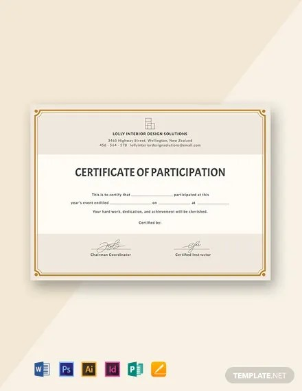 FREE Blank Participation Certificate Template Download 435+