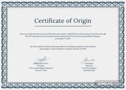 Free Certificate of Origin Template in PSD, MS Word, Publisher - Origin Of The Word Free