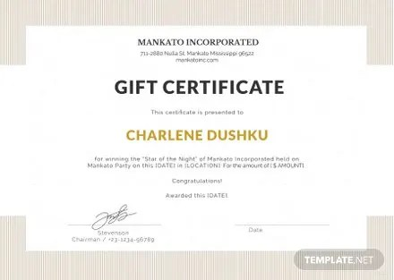 Free Gift Certificate Template in Microsoft Word, Microsoft