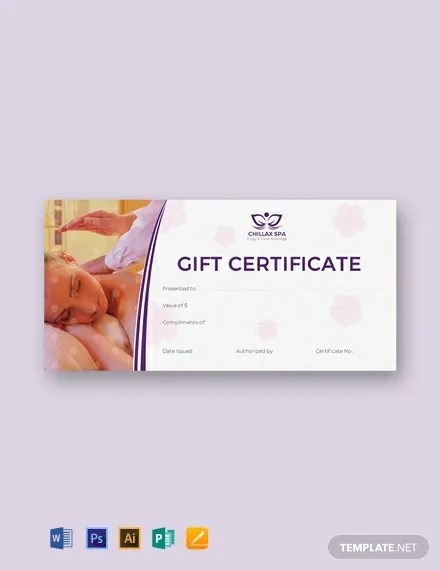 FREE Massage Gift Certificate Template Download 435+ Certificates