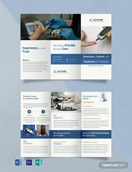 Free Diabetes Brochure Trifold Template Download 457+ Brochures in