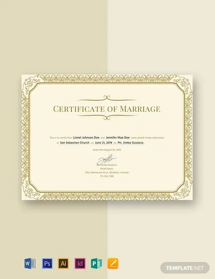 FREE Marriage Certificate Template Download 435+ Certificates in