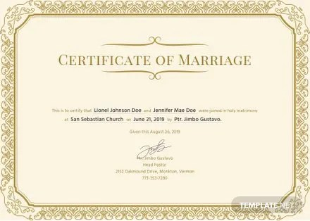 Free Marriage Certificate Template in PSD, MS Word, Publisher