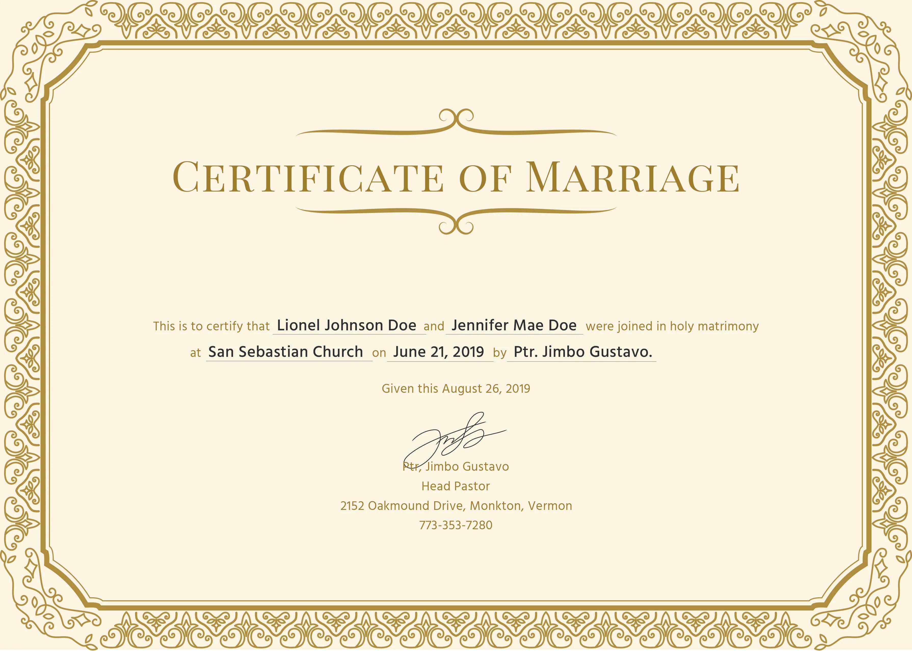 church marriage certificate sample