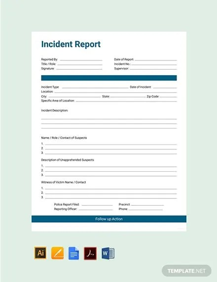 12+ Incident Report Forms - Word, PDF, Pages Free  Premium Templates