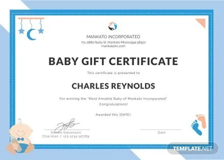 Free Baby Gift Certificate Template in PSD, MS Word, Publisher - gift certificate template pages