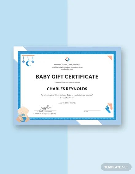 FREE Baby Gift Certificate Template Download 200+ Certificates in