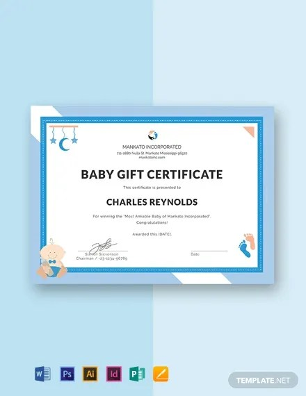 FREE Baby Gift Certificate Template Download 435+ Certificates in