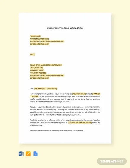 FREE Resignation Letter Going Back to School Template Download 2191