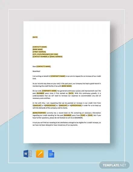 Request Increase of Credit Limit Template Download 131+ Templates